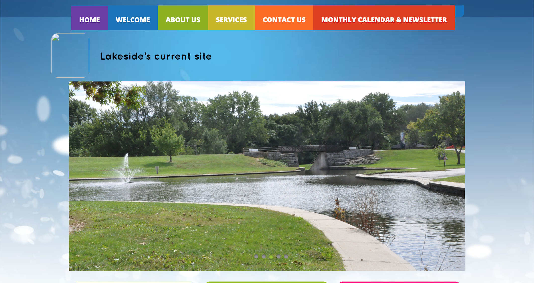 Lakeside's existing homepage
